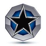 Sophisticated design geometric symbol, stylized pentagonal black Stock Image