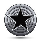 Sophisticated design geometric symbol, stylized pentagonal black. Star placed on a round silver surface, best for use in web and graphic design. Polished 3d Stock Photo