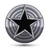 Sophisticated design geometric symbol, stylized pentagonal black Stock Photo