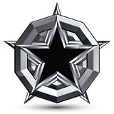 Sophisticated design geometric symbol, stylized pentagonal black. Star placed on a round silver surface, best for use in web and graphic design. Polished 3d Stock Images