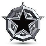 Sophisticated design geometric symbol, stylized pentagonal black Stock Images