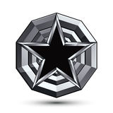 Sophisticated design geometric symbol, stylized pentagonal black. Star placed on a round silver surface, best for use in web and graphic design. Polished 3d Royalty Free Stock Image