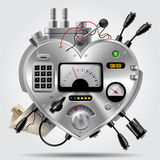 Sophisticated electronic device in the form of heart with the dashboard. Heart as computer system. Steampunk style design. There is in addition a vector format stock illustration