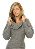 Sophisticated girl. A pretty young teenage girl holding the collar stock image