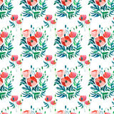 Sophisticated gorgeous pattern of red poppies and buds with green leaves watercolor. Hand sketch Royalty Free Stock Photo