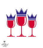 Sophisticated luxury wineglasses with king crown Royalty Free Stock Images
