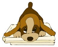 Sophisticated puppy. Illustration of a puppy who lays on books Stock Image