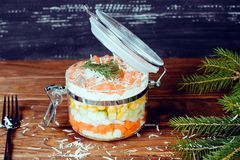 Sophisticated salmon salad with parmesan and fork on a wooden background Stock Image