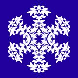 Sophisticated snowflake design element on Blue background. Line structure minimal vector decor. Set mandala style Christmas or New Year snowflake vector illustration