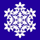 Sophisticated snowflake design element on Blue background. Line structure minimal vector decor. Set mandala style Christmas or New Year snowflake royalty free illustration