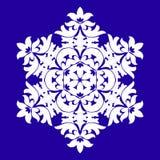 Sophisticated snowflake design element on Blue background. Line structure minimal vector decor. Set mandala style Christmas or New Year snowflake stock illustration