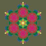 Sophisticated snowflake design element on Terrarium Moss background. Line structure minimal vector decor. Set mandala style Christmas or New Year snowflake royalty free illustration