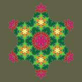 Sophisticated snowflake design element on Terrarium Moss background. Line structure minimal vector decor. Set mandala style Christmas or New Year snowflake stock illustration