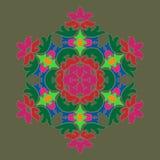 Sophisticated snowflake design element on Terrarium Moss background. Line structure minimal vector decor. Set mandala style Christmas or New Year snowflake vector illustration