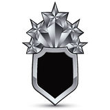 Sophisticated vector blazon with five silver stars, silvery 3d d Royalty Free Stock Photos