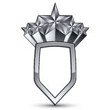 Sophisticated vector blazon with five silver stars, silvery 3d d Stock Photography