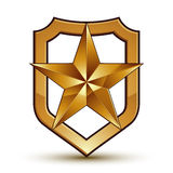 Sophisticated vector blazon with golden star emblem, 3d Royalty Free Stock Image
