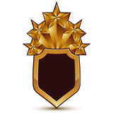 Sophisticated vector blazon with a golden star emblem, 3d polygo Stock Photography