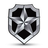 Sophisticated vector blazon with a silver star emblem, silvery 3 Royalty Free Stock Photography