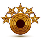 Sophisticated vector emblem with golden stars, 3d decorative Royalty Free Stock Photography