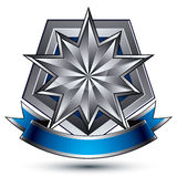 Sophisticated vector emblem with silver glossy star and blue wav Stock Images