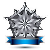 Sophisticated vector emblem with silver glossy star and blue wav Royalty Free Stock Photography