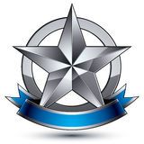 Sophisticated vector emblem with silver glossy star Stock Photo