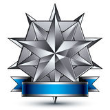 Sophisticated vector emblem with silver glossy star Royalty Free Stock Images