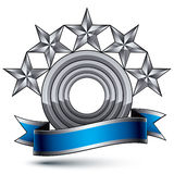 Sophisticated vector emblem with 5 silver glossy stars and blue Stock Photography