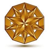 Sophisticated vector golden star emblem, 3d decorative design el Stock Photos