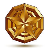 Sophisticated vector golden star emblem, 3d decorative design Stock Photos