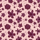 Sophisticated vector pink and burgundy floral seamless pattern background. Sober, festive and fun. Great for backgrounds, wallpapers and textures on vector illustration