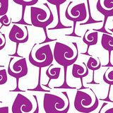 Sophisticated wine goblets continuous vector backdrop, stylish a Royalty Free Stock Images