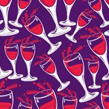Sophisticated wine goblets continuous vector backdrop, stylish Royalty Free Stock Photos