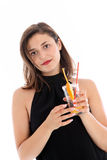 Sophisticated woman enjoying a cocktail Royalty Free Stock Photos