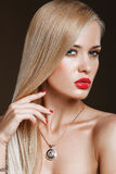 Sophisticated Woman with Perfect Skin. And Flowing Blond Healthy Hair Stock Photography