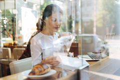 Sophisticated woman reading and drinking latte in cafe Royalty Free Stock Photography