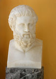 Sophocles bust. Achilleon, Corfu island, Greece - June 22nd, 2010 - Marble bust of Sophocles (497 - 405. BC), ancient Greek tragedian (writter) from Attica Stock Images