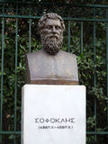 Sophocles statue in Athens. ATHENS,GREECE - MARCH 10, 2016: Sophocles bronze statue in front of the national garden in Athens, Greece Stock Images