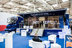 Sophos Next-gen ceber security company stand interior on exhibition Cebit 2017 in Hannover Messe, Germany. Hannover, Germany - March, 2017: Sophos Next-gen ceber stock photo