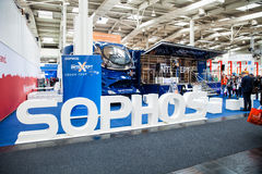 Sophos Next-gen ceber security company stand interior on exhibition Cebit 2017 in Hannover Messe, Germany. Hannover, Germany - March, 2017: Sophos Next-gen ceber stock image
