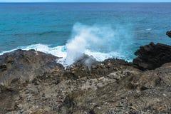 Sopladura de Halona en Oahu, Hawaii imagen de archivo