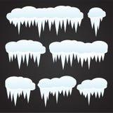 Sople i śnieżna tekstura na czarnym tle ilustracja wektor