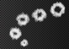 Soplo del humo blanco realista en la parte posterior transparente stock de ilustración