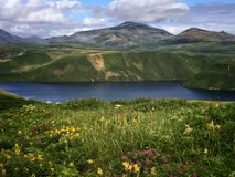 Sopochnoye lake view with flowers meadow on sunny day. Iturup, Kuril Islands, Russia. Stock Images