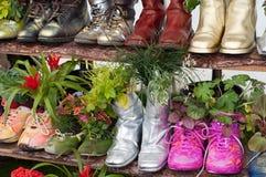 Soporte con las flores plantadas en zapatos Imagenes de archivo