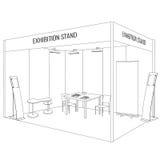 Soporte de la cabina de la exposición del comercio del espacio en blanco del vector Estilo de moda del esquema Foto de archivo libre de regalías
