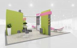 Soporte de la exposición en la representación verde y rosada de los colores 3d Fotografía de archivo libre de regalías
