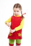 Soporte de la muchacha con el caramelo fotos de archivo libres de regalías