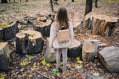 Soporte de la niña al lado de tocones de madera en el bosque en el día del otoño Fotos de archivo libres de regalías